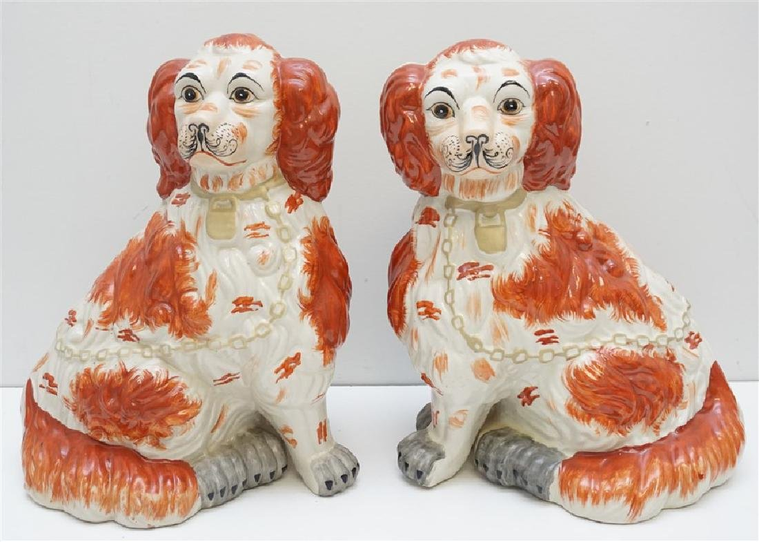 LARGE PAIR STAFFORDSHIRE DOGS