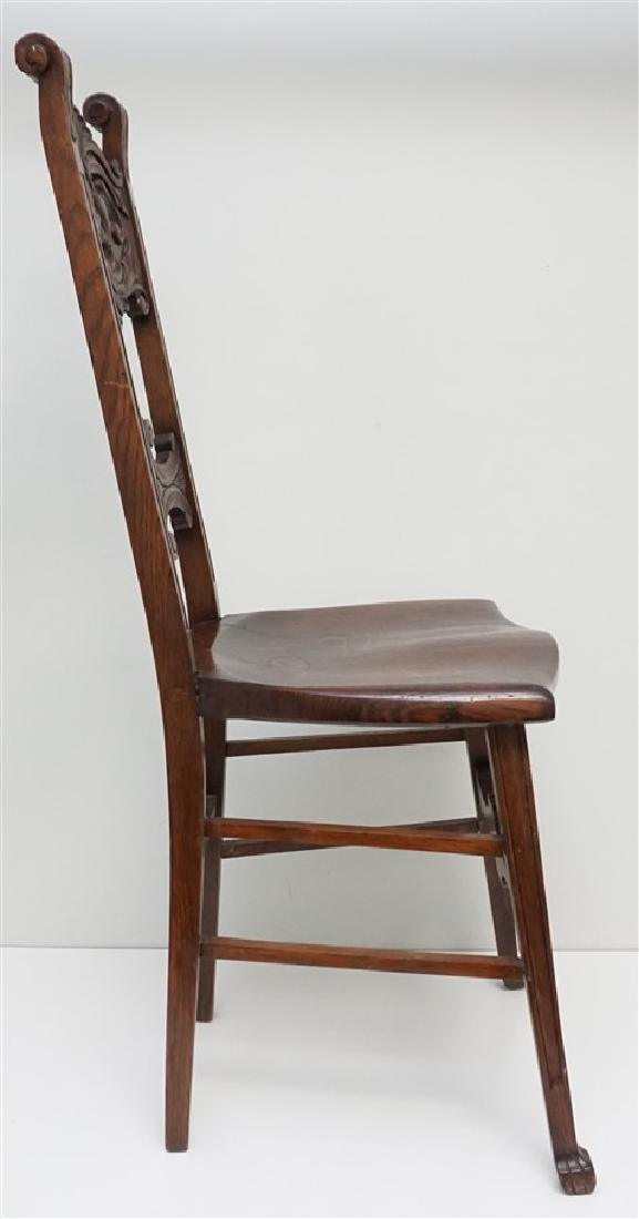 AMERICAN CARVED OAK NORTH WIND CHAIR c 1900 - 3