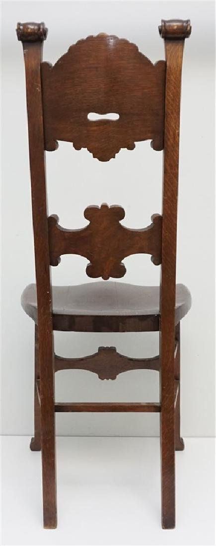 AMERICAN CARVED OAK NORTH WIND CHAIR c 1900 - 4