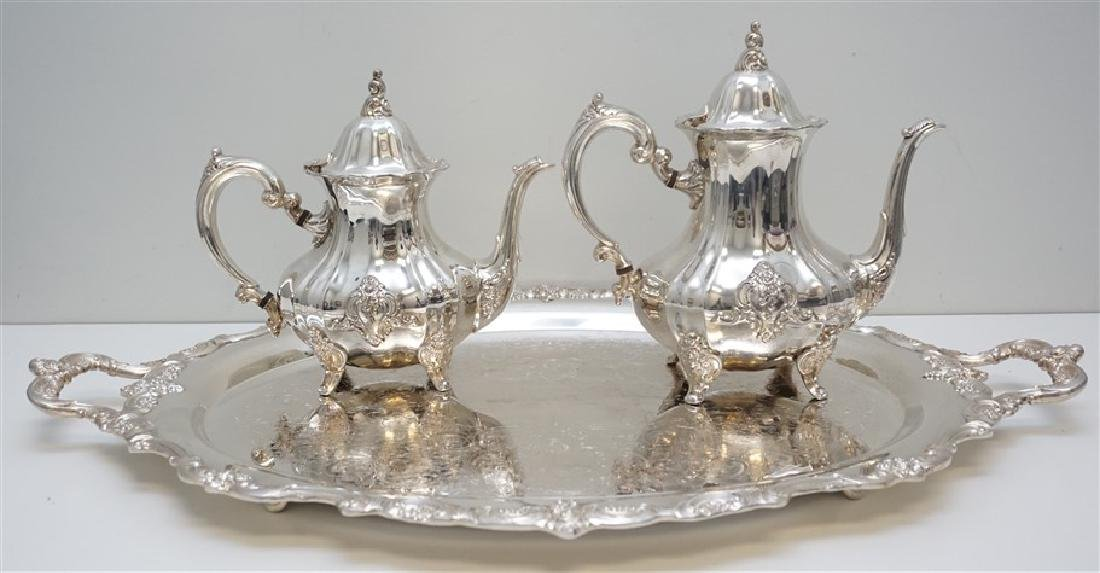 3 PC LARGE TOWLE SILVERPLATE TEA SET