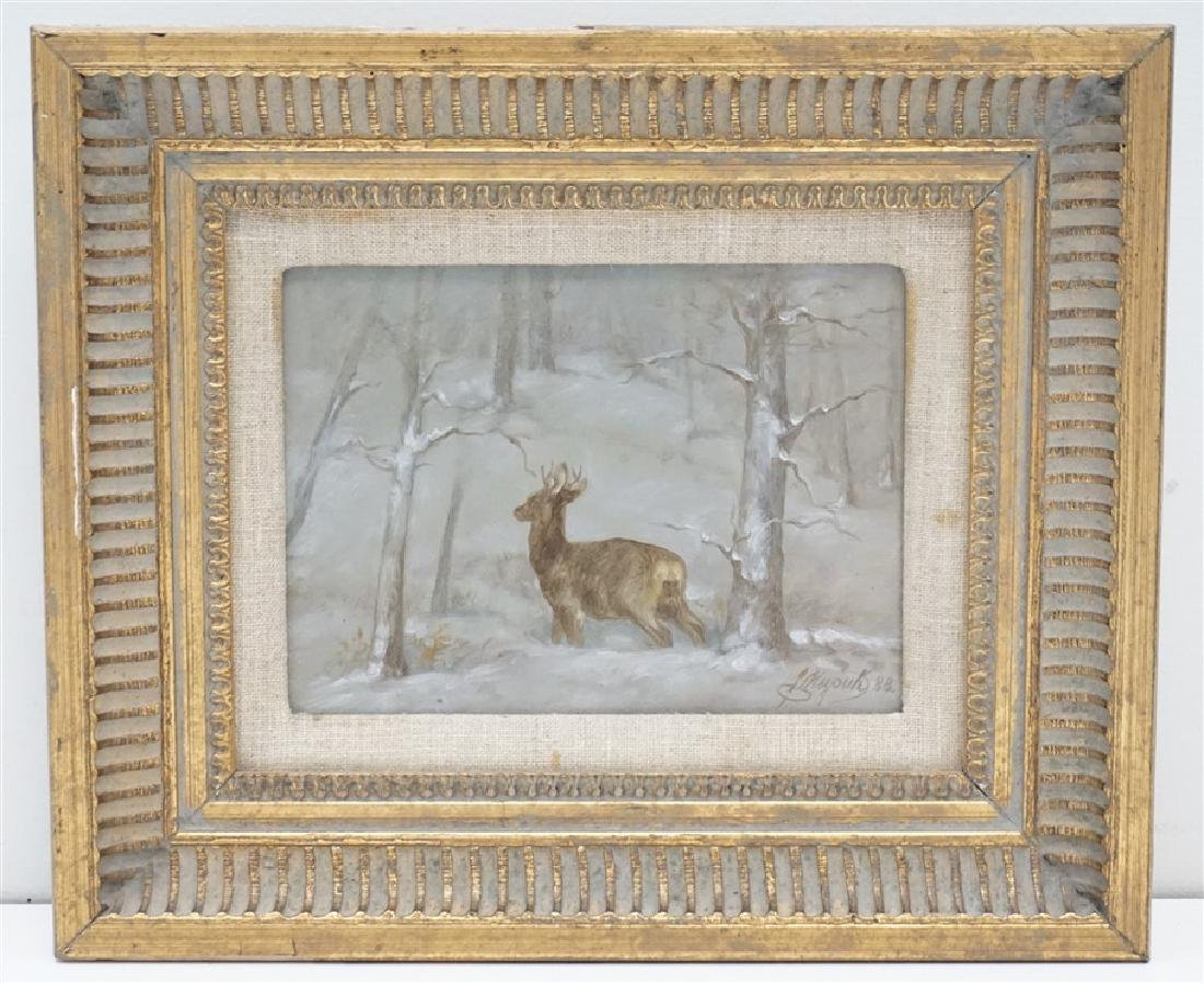 OIL ON BOARD DEER IN THE SNOW