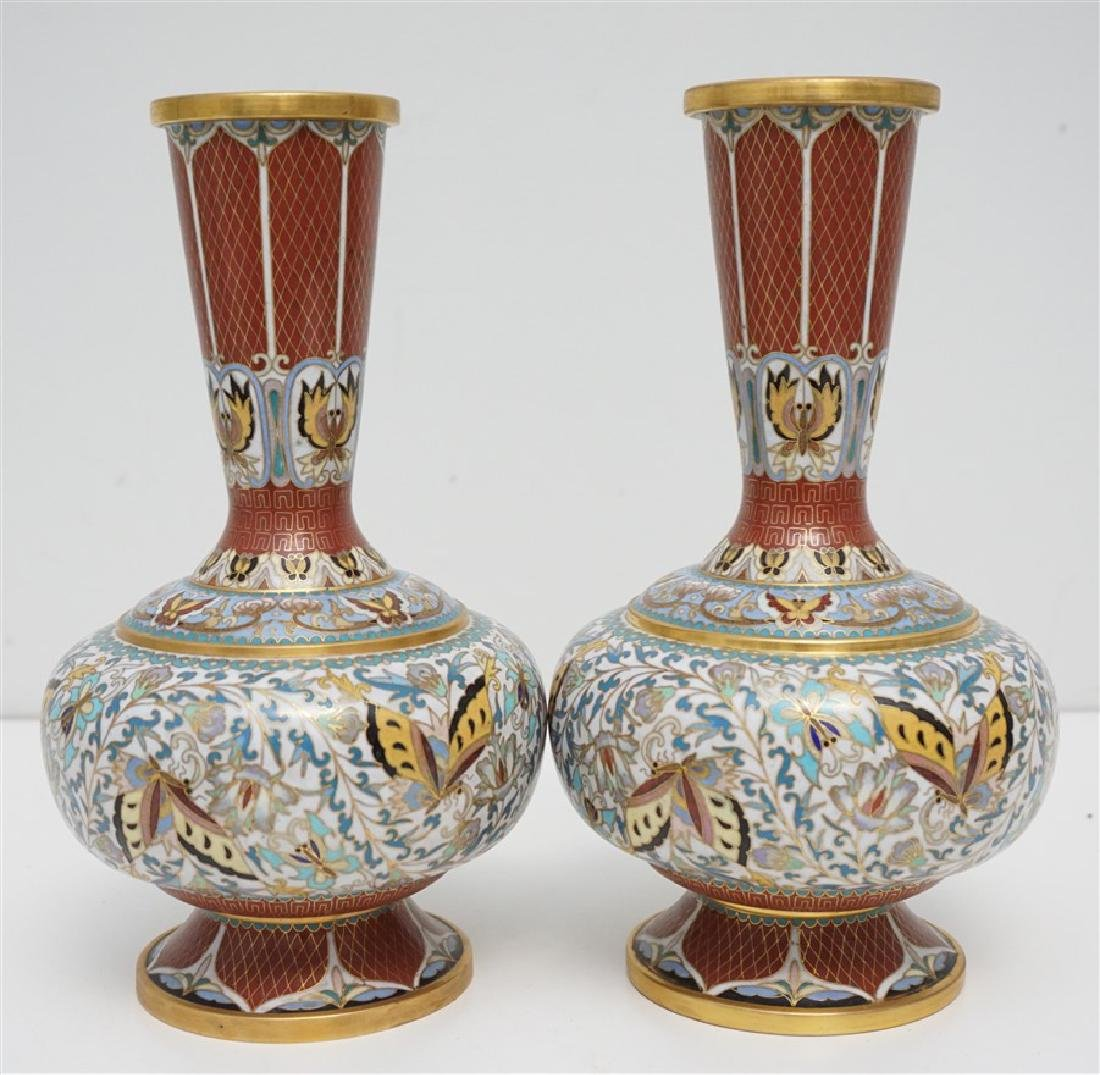 PAIR CHINESE CLOISONNE VASES - 3