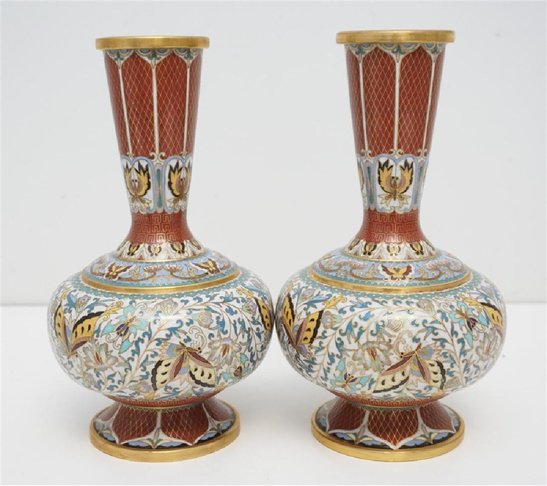 PAIR CHINESE CLOISONNE VASES - 4