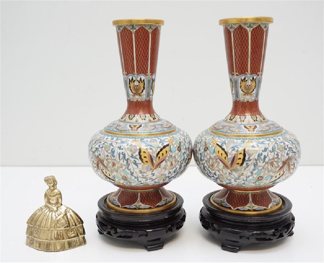 PAIR CHINESE CLOISONNE VASES - 9