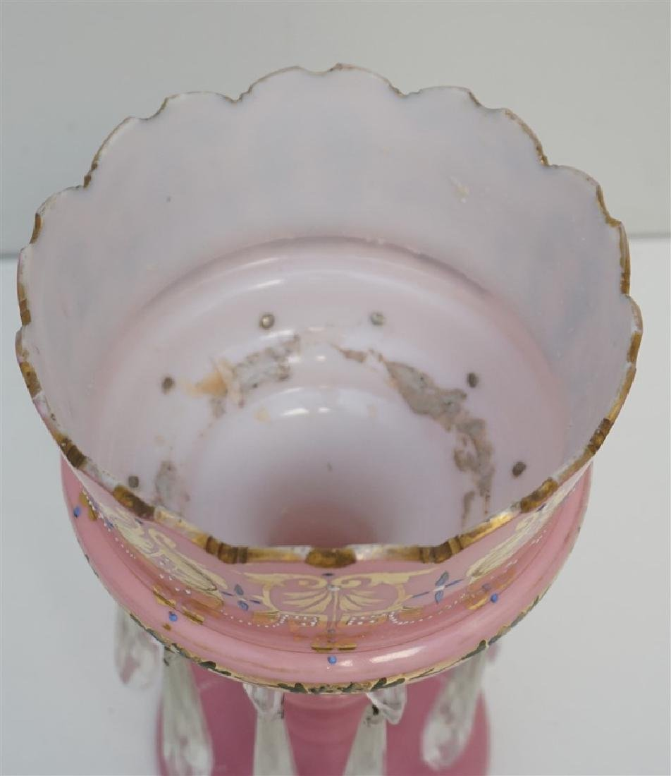 PINK ENAMELED GLASS LUSTER - 6