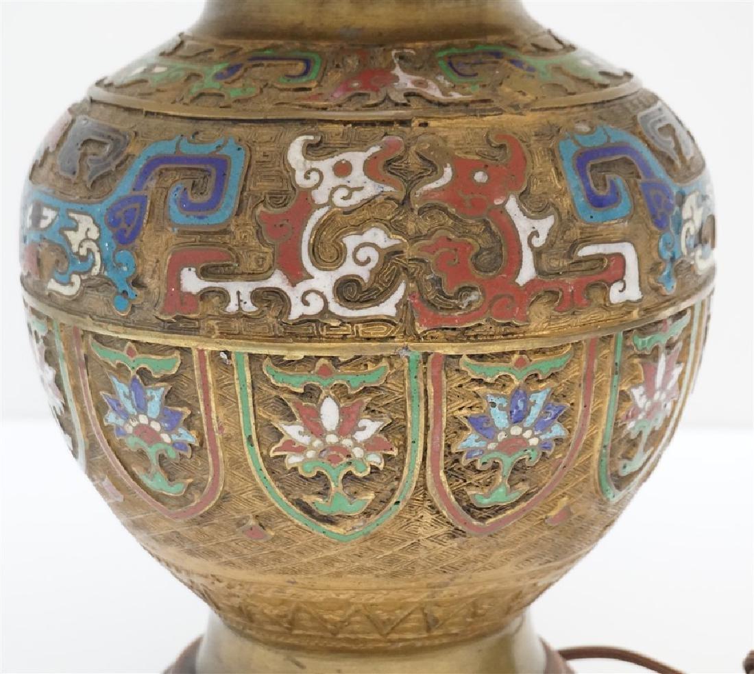 JAPANESE BRONZE CHAMPLEVE LAMP - 10