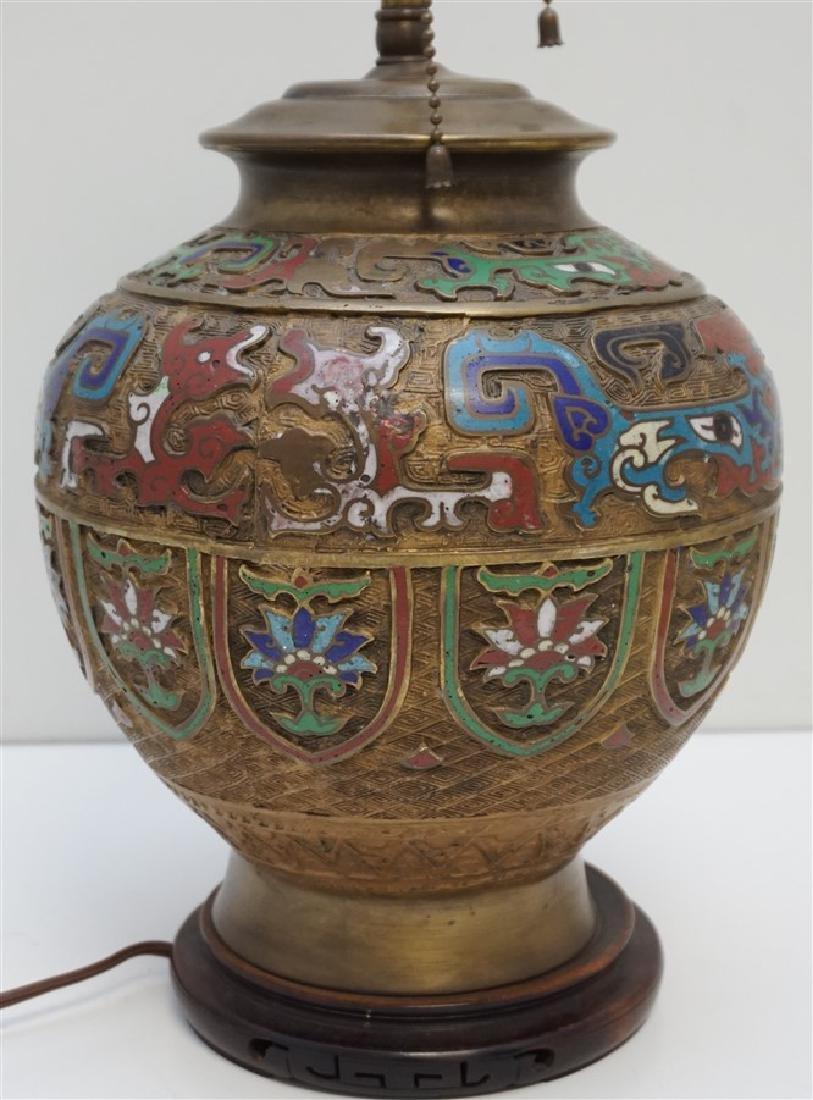 JAPANESE BRONZE CHAMPLEVE LAMP - 4