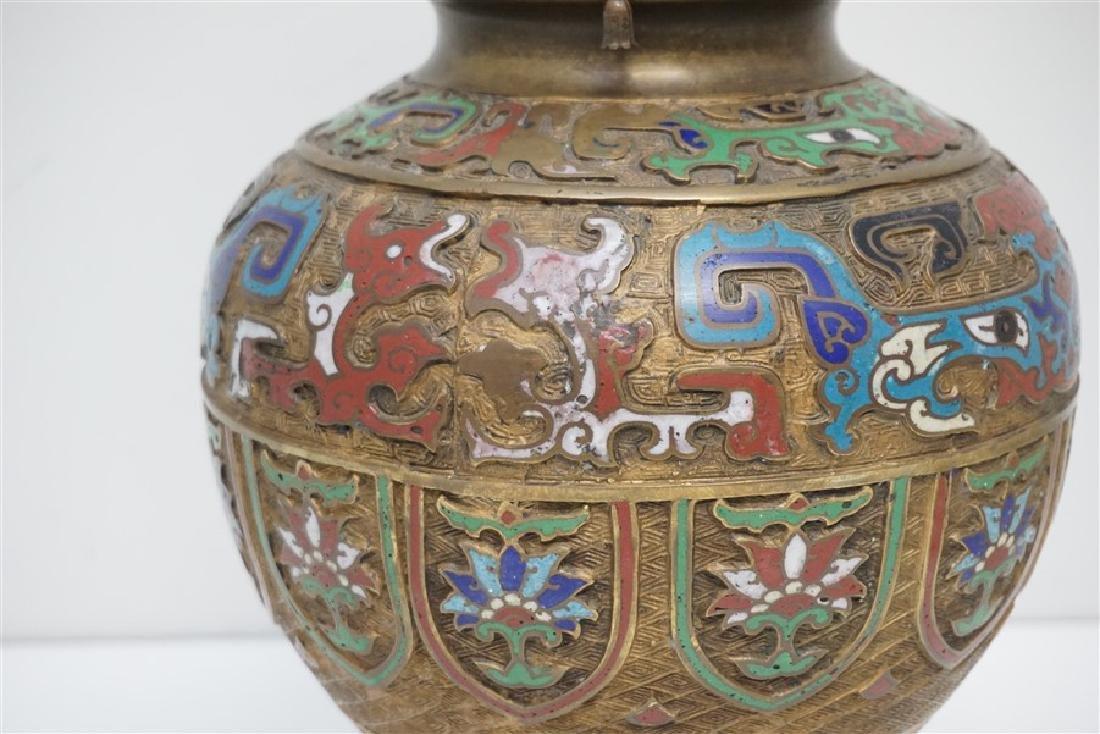 JAPANESE BRONZE CHAMPLEVE LAMP - 6