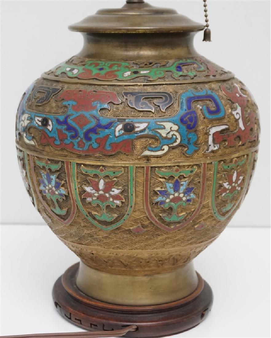 JAPANESE BRONZE CHAMPLEVE LAMP - 7