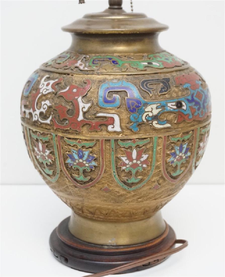 JAPANESE BRONZE CHAMPLEVE LAMP - 8