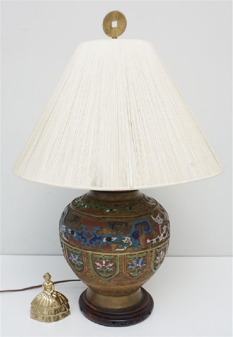 JAPANESE BRONZE CHAMPLEVE LAMP - 9