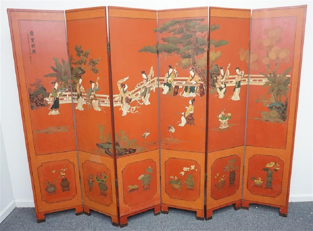 CHINESE RED LACQUER SIX-PANEL SCREEN