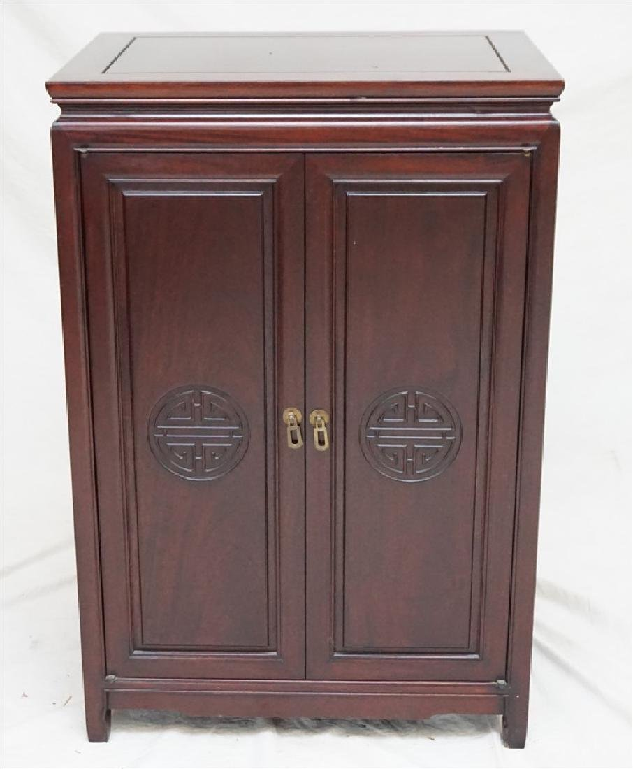 CHINESE ROSEWOOD SILVER CABINET