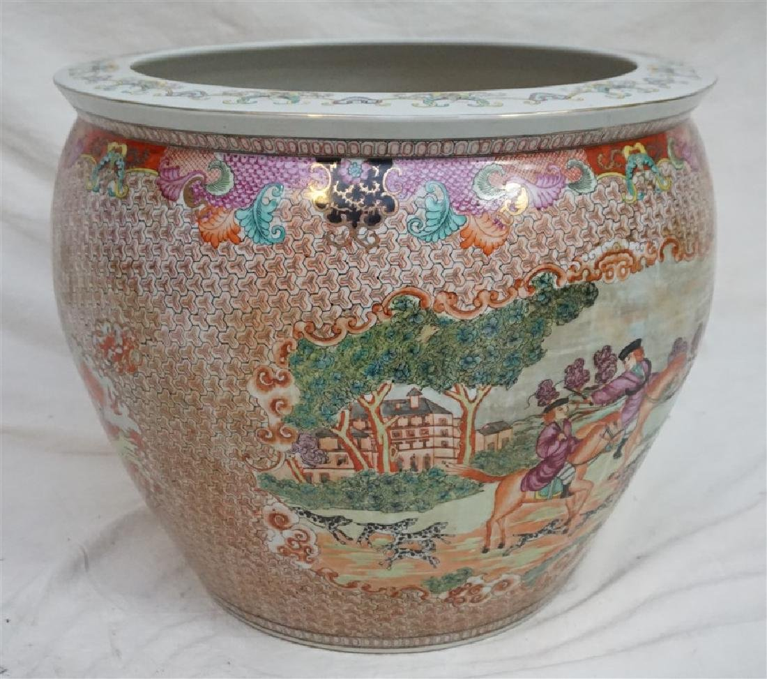 LARGE CHINESE EXPORT HUNT FISH BOWLS - 8