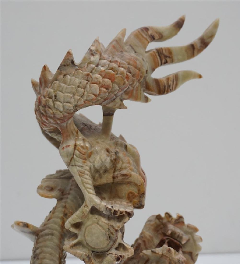 LARGE INTRICATE CARVED JADE DRAGON - 6