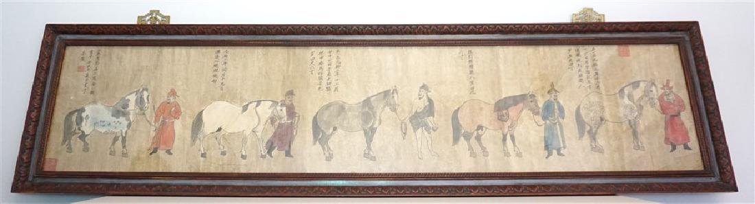 19th c. INK & GOUACHE 5 HORSES & GROOMS