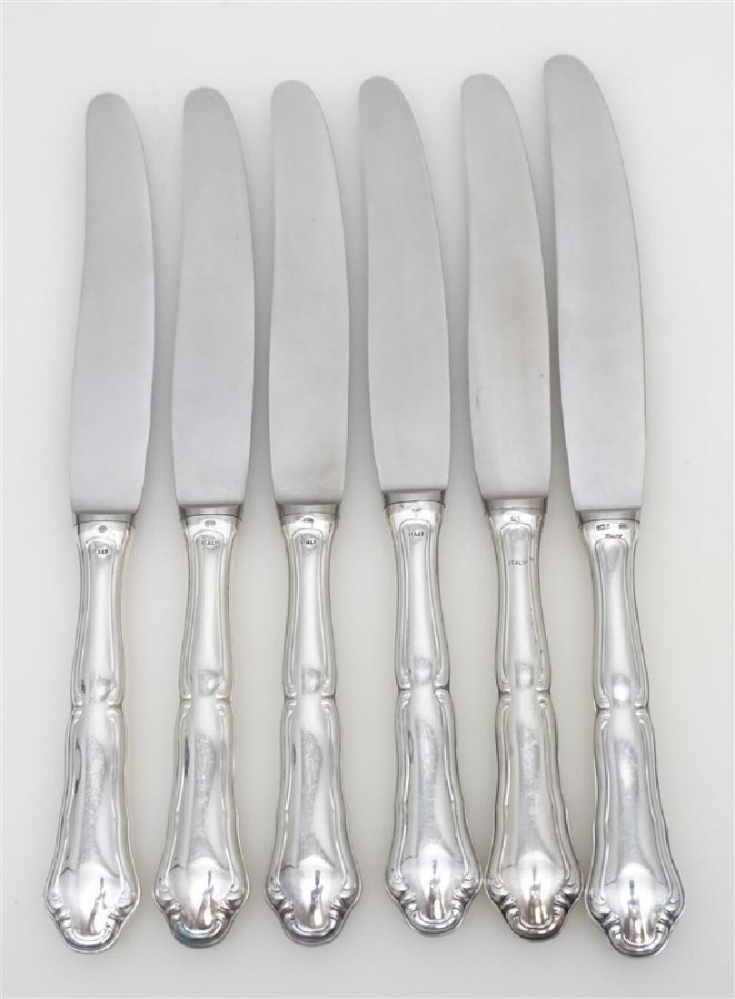 6 BUCCELLATI SAVOY STERLING DINNER KNIVES - 4