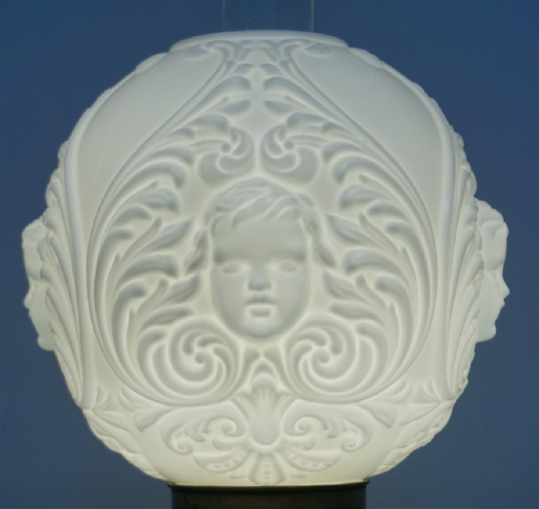 CHERUB FACE GLASS BANQUET LAMP - 2