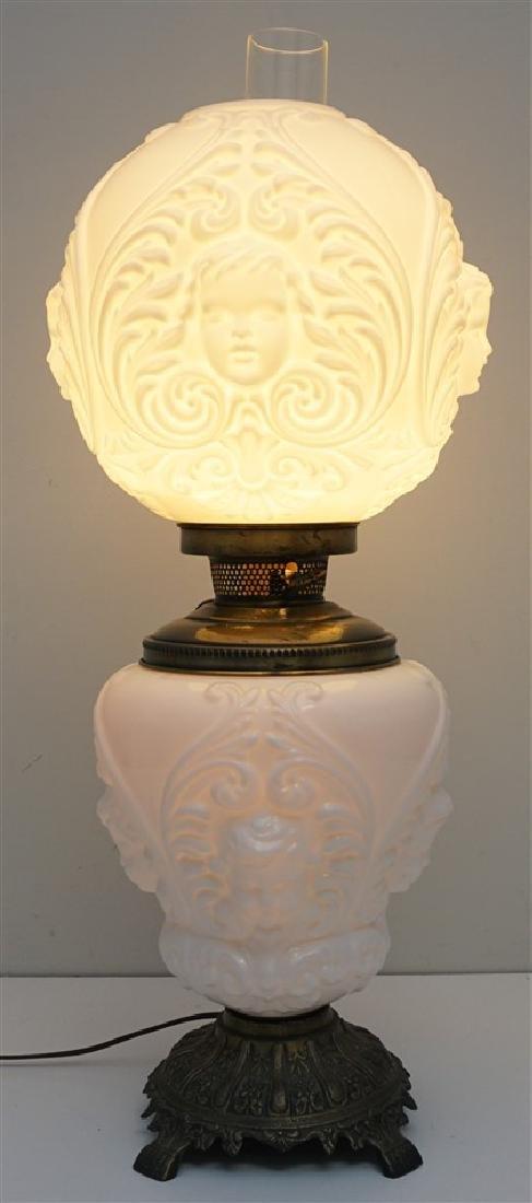 CHERUB FACE GLASS BANQUET LAMP - 6