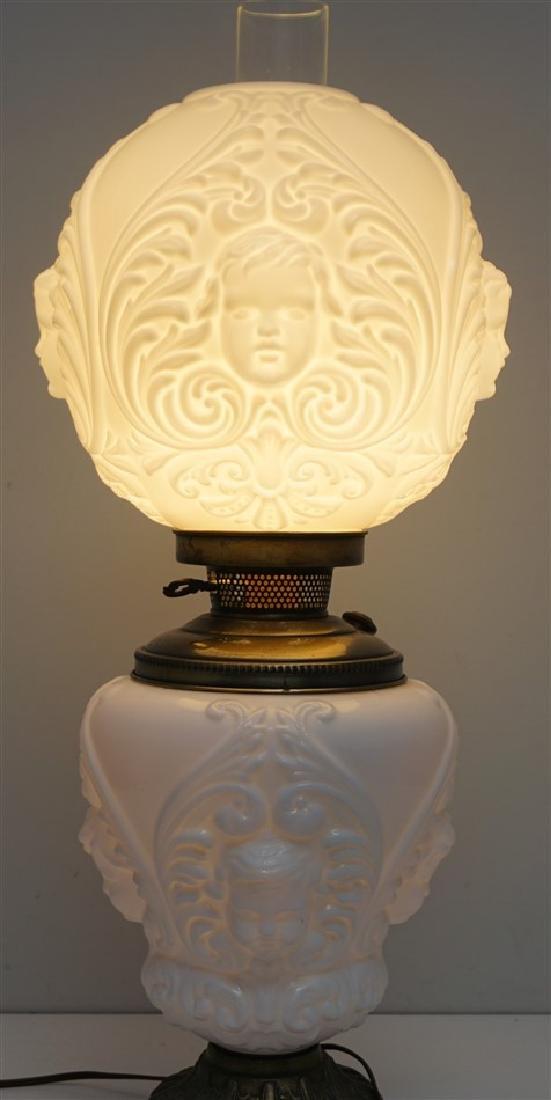 CHERUB FACE GLASS BANQUET LAMP - 7