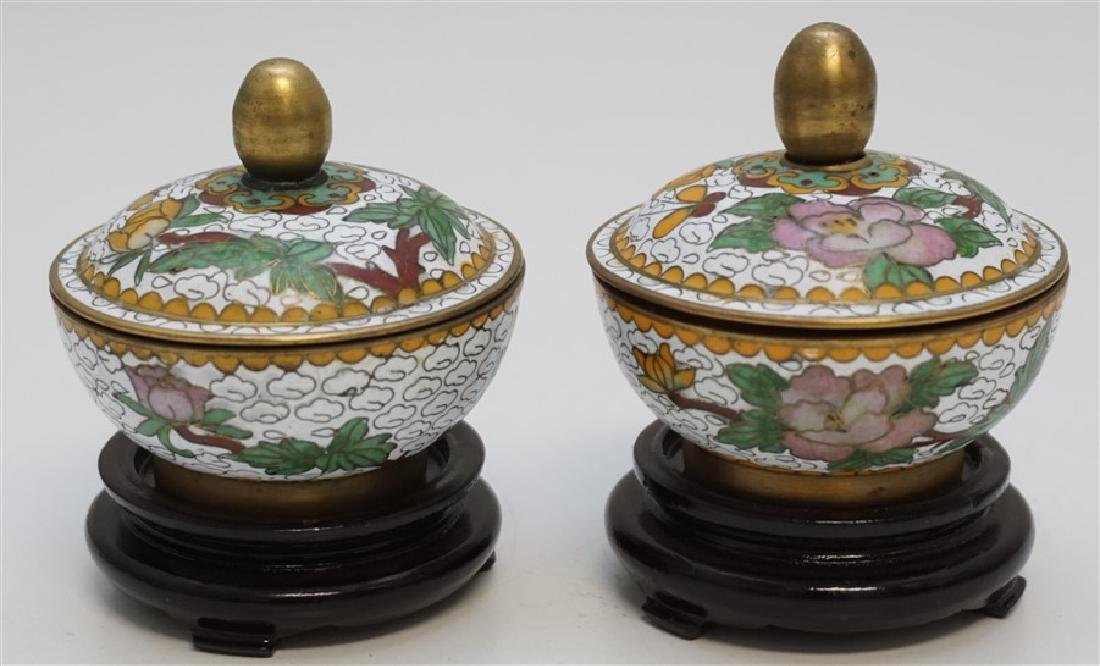 MINIATURE PAIR CHINESE CLOISONNE JARS