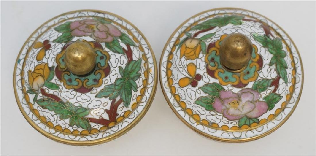 MINIATURE PAIR CHINESE CLOISONNE JARS - 2