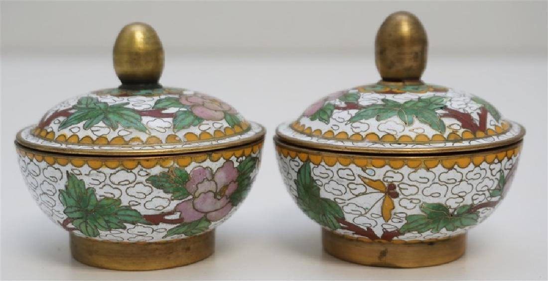 MINIATURE PAIR CHINESE CLOISONNE JARS - 4