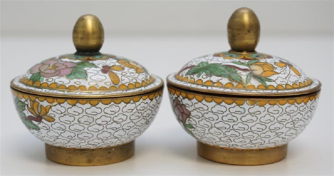 MINIATURE PAIR CHINESE CLOISONNE JARS - 5