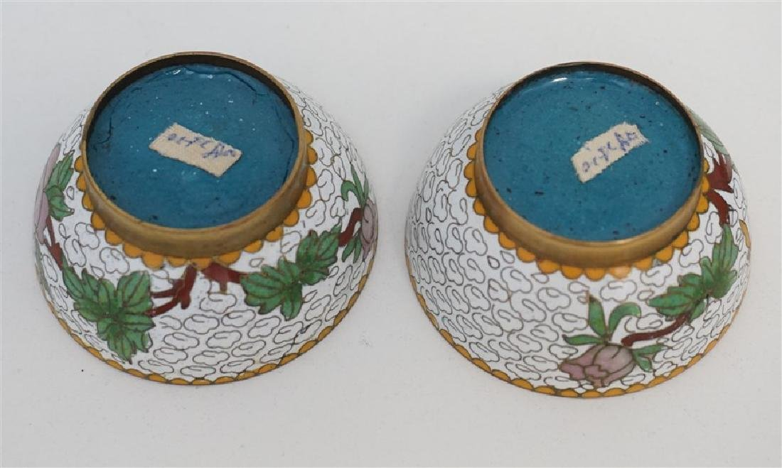 MINIATURE PAIR CHINESE CLOISONNE JARS - 7