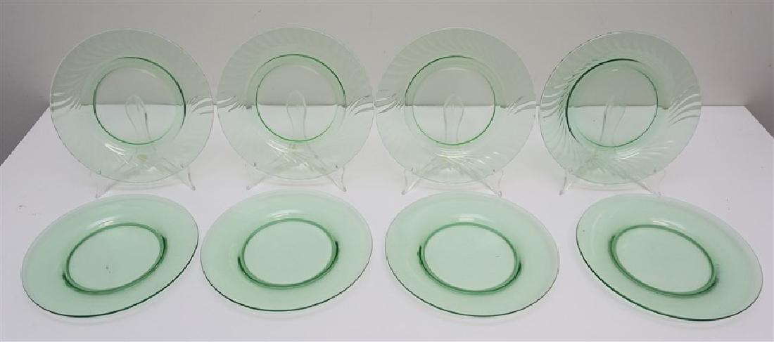 8 VINTAGE GREEN GLASS PLATES - 4 VASELINE