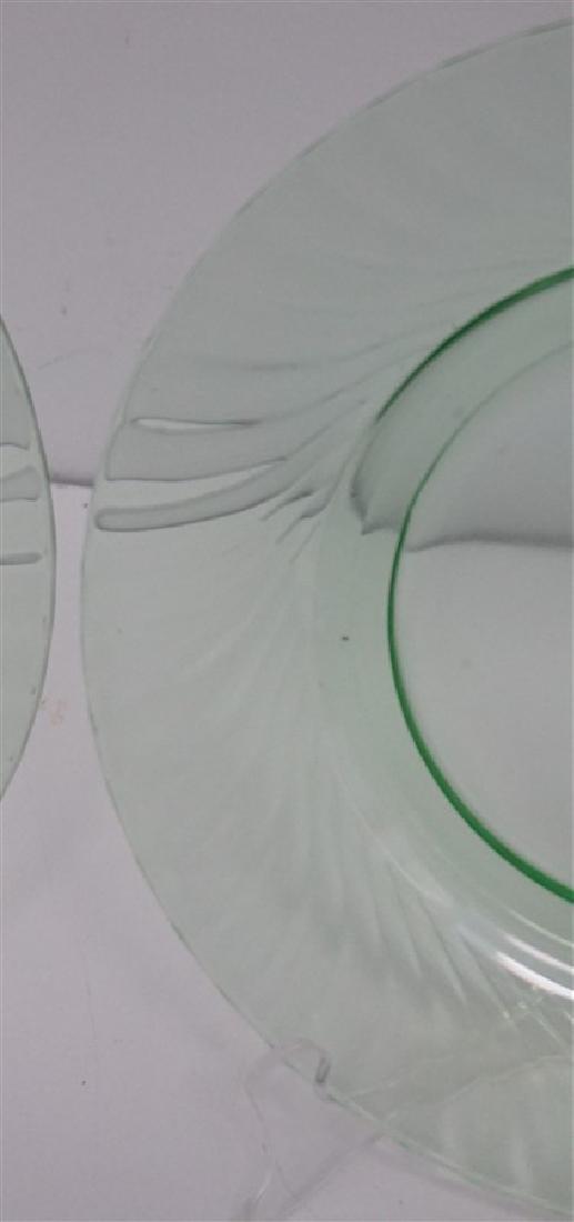 8 VINTAGE GREEN GLASS PLATES - 4 VASELINE - 2