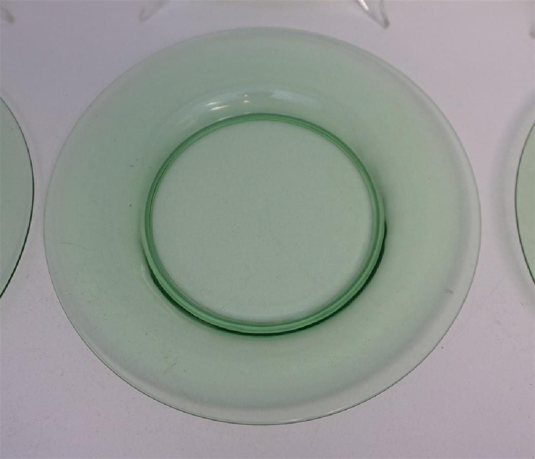 8 VINTAGE GREEN GLASS PLATES - 4 VASELINE - 3