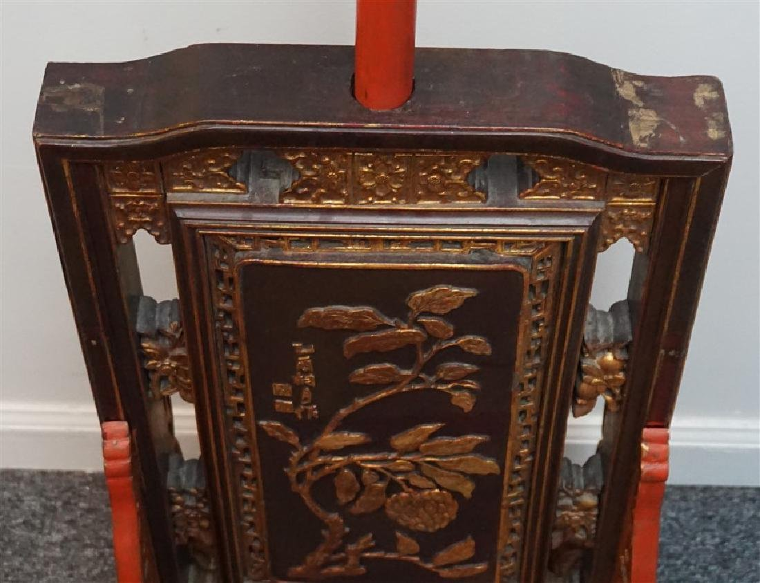 """19th c CHINESE TEMPLE TALL 64"""" CANDLE STAND - 9"""