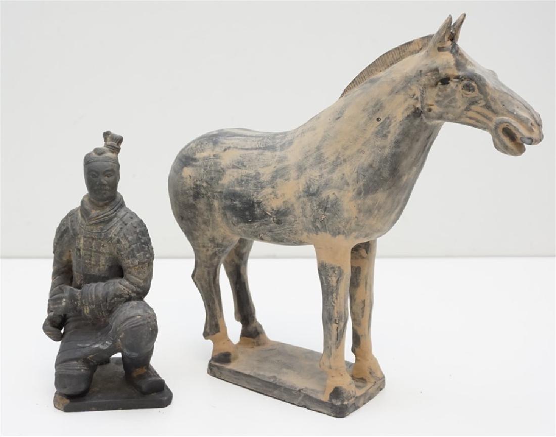 2 CHINESE TERRACOTTA WARRIOR & HORSE