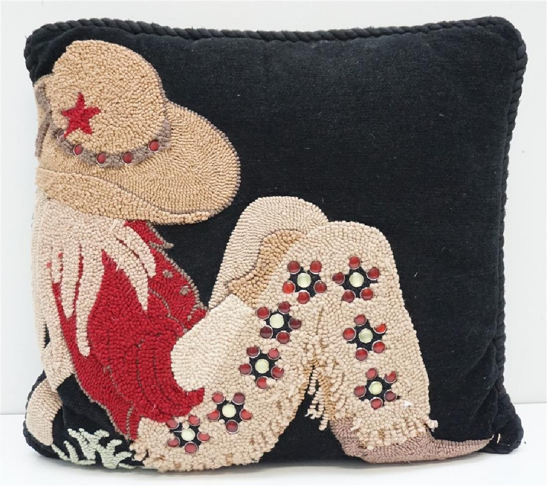 HAND HOOKED COWGIRL PILLOW