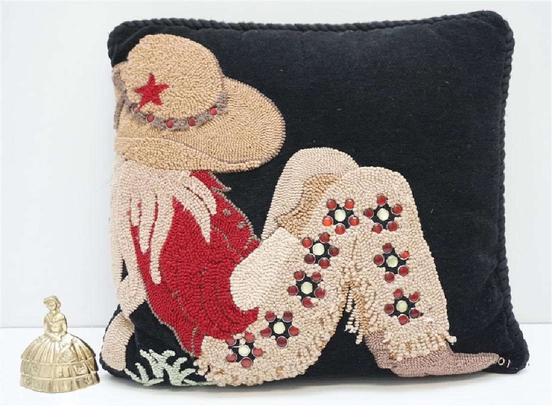 HAND HOOKED COWGIRL PILLOW - 6