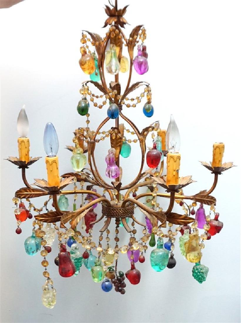 VINTAGE GLASS FRUIT 6 LIGHT CHANDELIER - 3