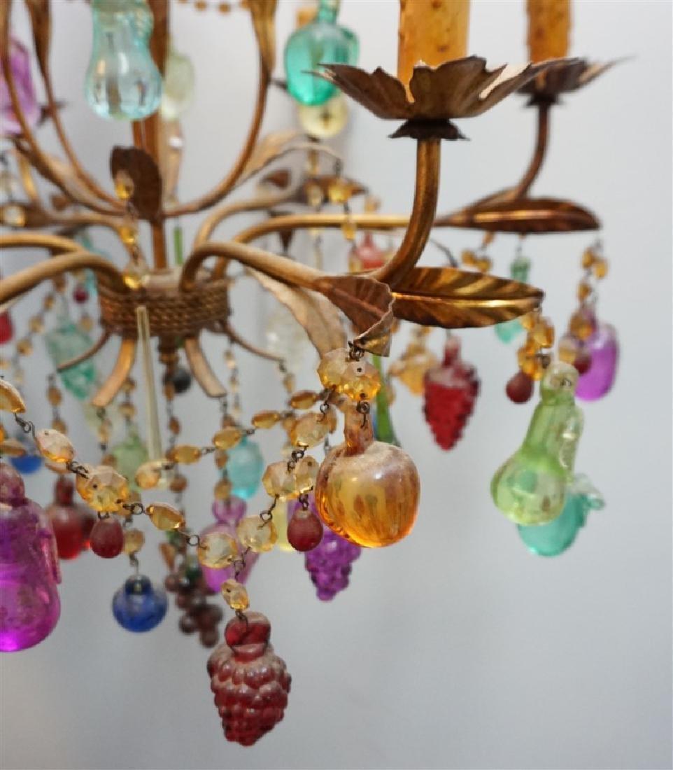 VINTAGE GLASS FRUIT 6 LIGHT CHANDELIER - 6