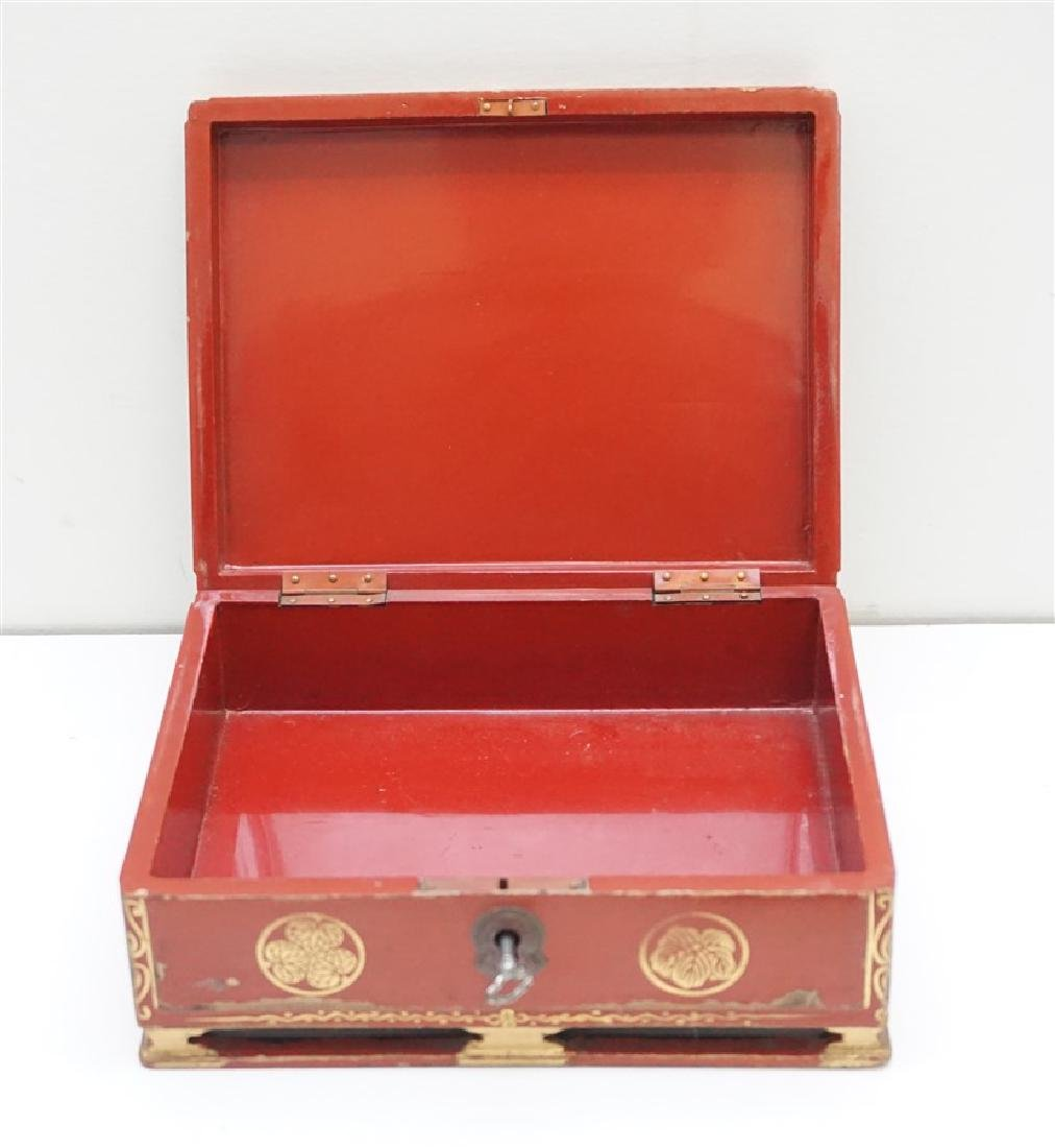 3 pc JAPANESE RED LACQUER WRITING BOX-VASE - 3