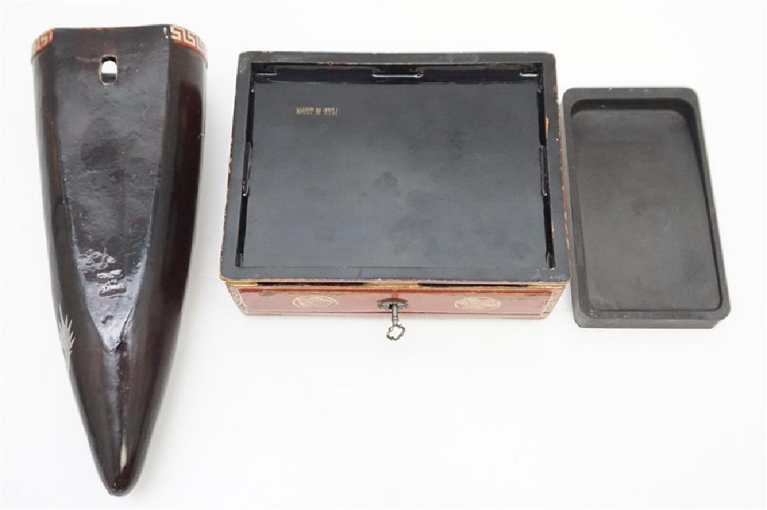 3 pc JAPANESE RED LACQUER WRITING BOX-VASE - 5