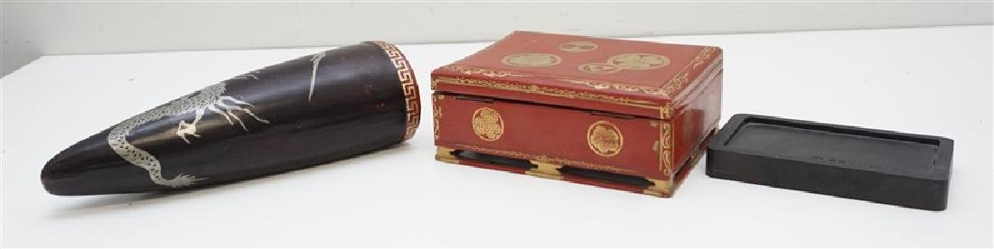 3 pc JAPANESE RED LACQUER WRITING BOX-VASE - 6