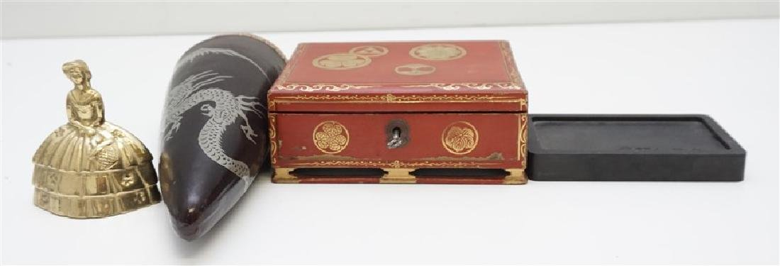 3 pc JAPANESE RED LACQUER WRITING BOX-VASE - 7