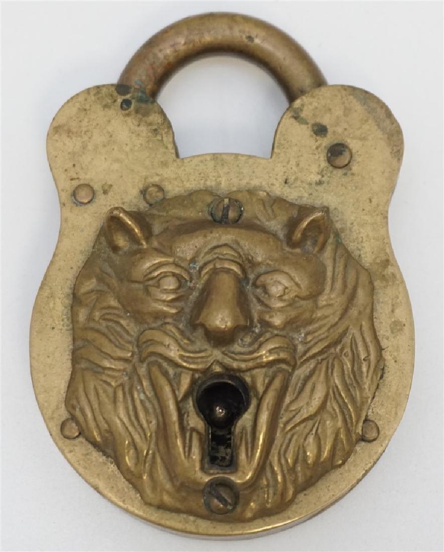 19TH c LION HEAD PADLOCK