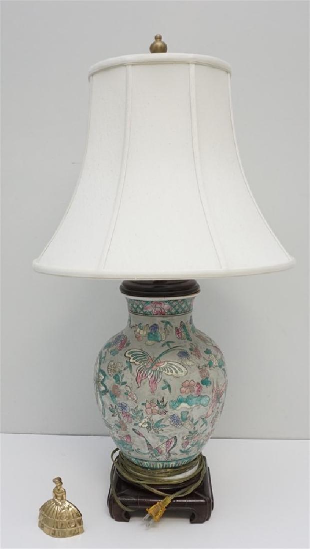 VINTAGE PORCELAIN GINGER JAR LAMP - 5