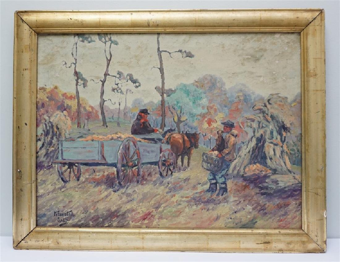 OIL ON CANVAS FARM WORKERS