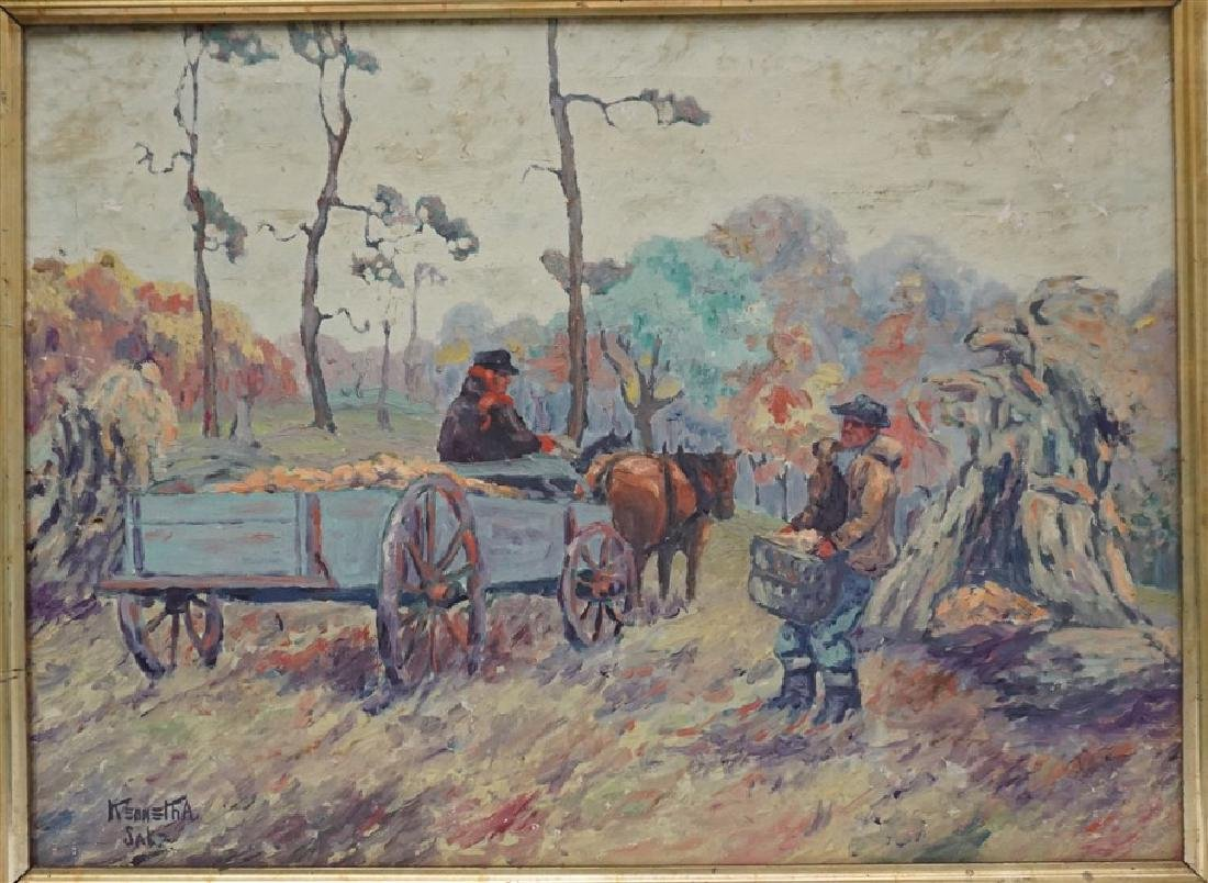 OIL ON CANVAS FARM WORKERS - 2