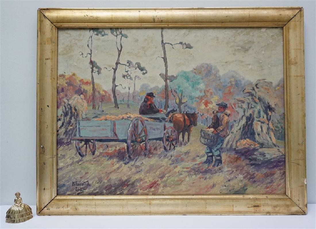 OIL ON CANVAS FARM WORKERS - 9