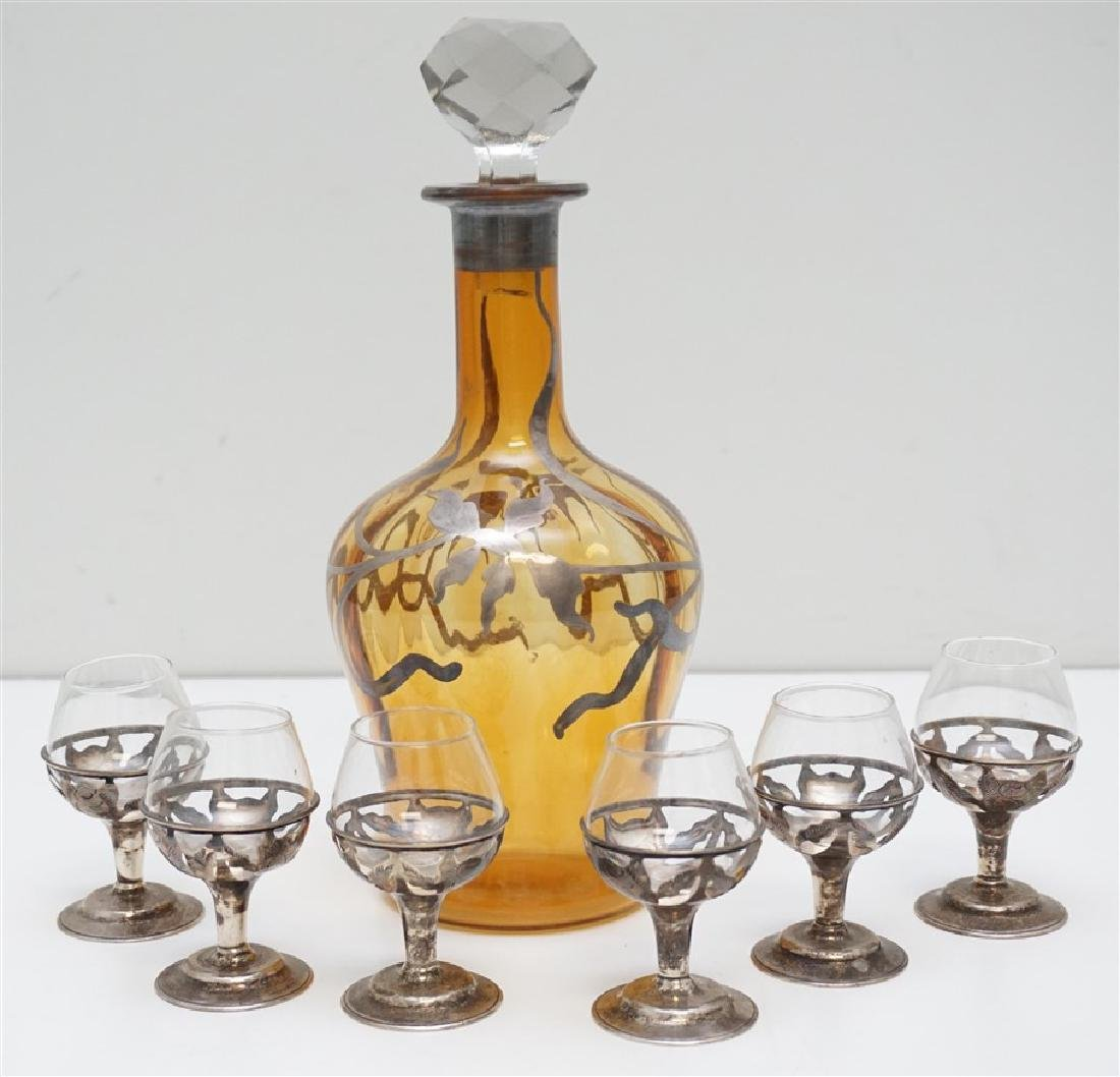 7 PC STERLING CORDIALS & DECANTER