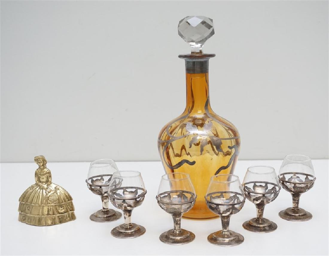 7 PC STERLING CORDIALS & DECANTER - 9