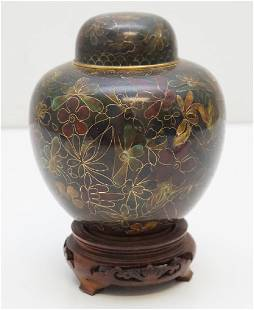 CHINESE CLOISONNE JAR ON STAND